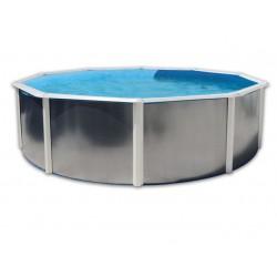Piscine Circulaire Hors sol 550x120 Paroi Rigide Galvanisée Silver Blanche Circulaire TOI