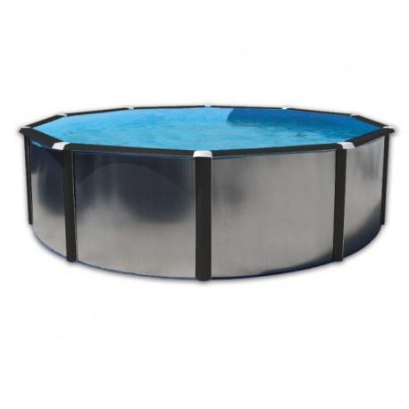 Piscine Circulaire Hors sol 350x120 Paroi Rigide Galvanisée Profilés Noirs Silver Luna Circulaire TOI