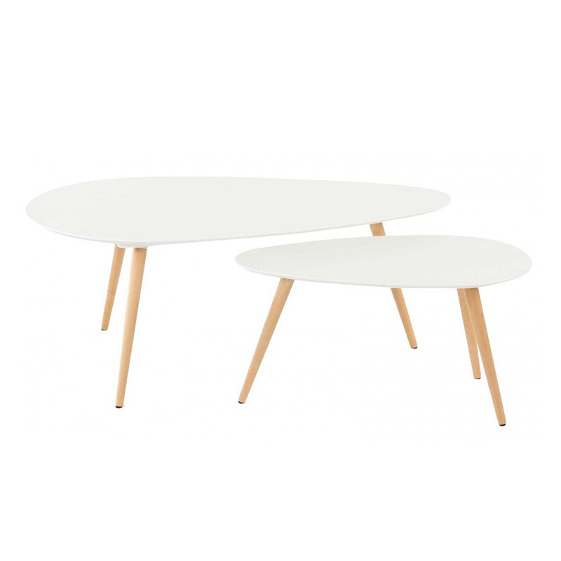 Tables basses gigognes ch ne et laqu blanc 116 kosyform - Table basse blanc et chene ...