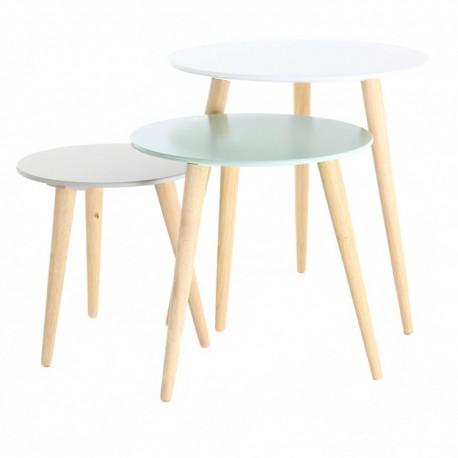 3 Fois Table Gigogne Ronde En Bois Blanche Bleue Et Grise Kosyform