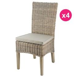 مجموعة من الكراسي 4 في القدمين نصف الملون خشب الساج كوبو لين كوسيفورم