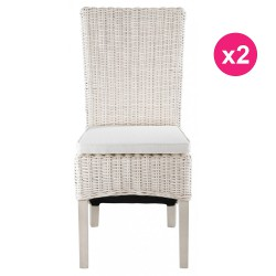 Lot de 2 Chaises en Demi Kubu Blanc KosyForm