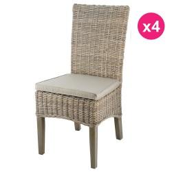 成套的半脚柚木库布 4 椅子有色灰色 KosyForm