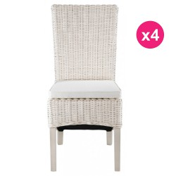 Lot de 4 Chaises en Demi Kubu Blanc KosyForm
