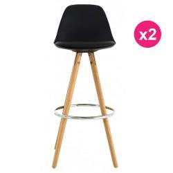 Set of 2 Bar chairs high black oak KosyForm base