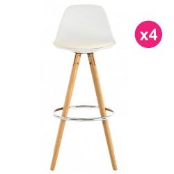 Set of 4 Bar chairs high white oak KosyForm base