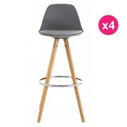Set of 4 chairs of Bar high grey oak KosyForm base
