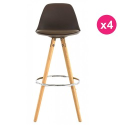 Set of 4 Bar chairs High Mole base oak KosyForm