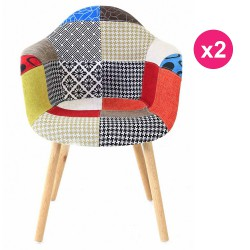 Lot de 2 Fauteuils Design Multicolore Patchwork KosyForm