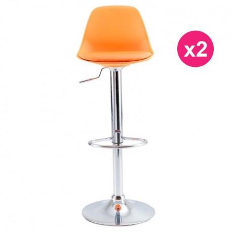 set of 2 orange kosyform bar stools - Tabouret Bar Orange