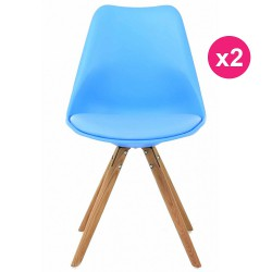 Set of 2 chairs blue oak KosyForm base