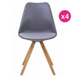 Set of 4 chairs gray oak KosyForm base