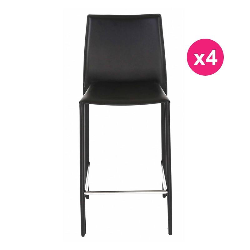 Lot de 4 chaises plan de travail noire kosyform for Chaise pour plan de travail