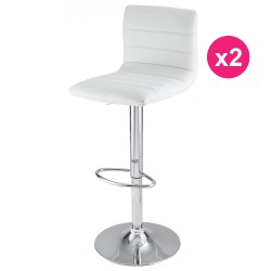 Lot de 2 Tabourets de Bar Blanc KosyForm