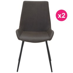 Lot de 2 Chaises Marron Vieilli KosyForm