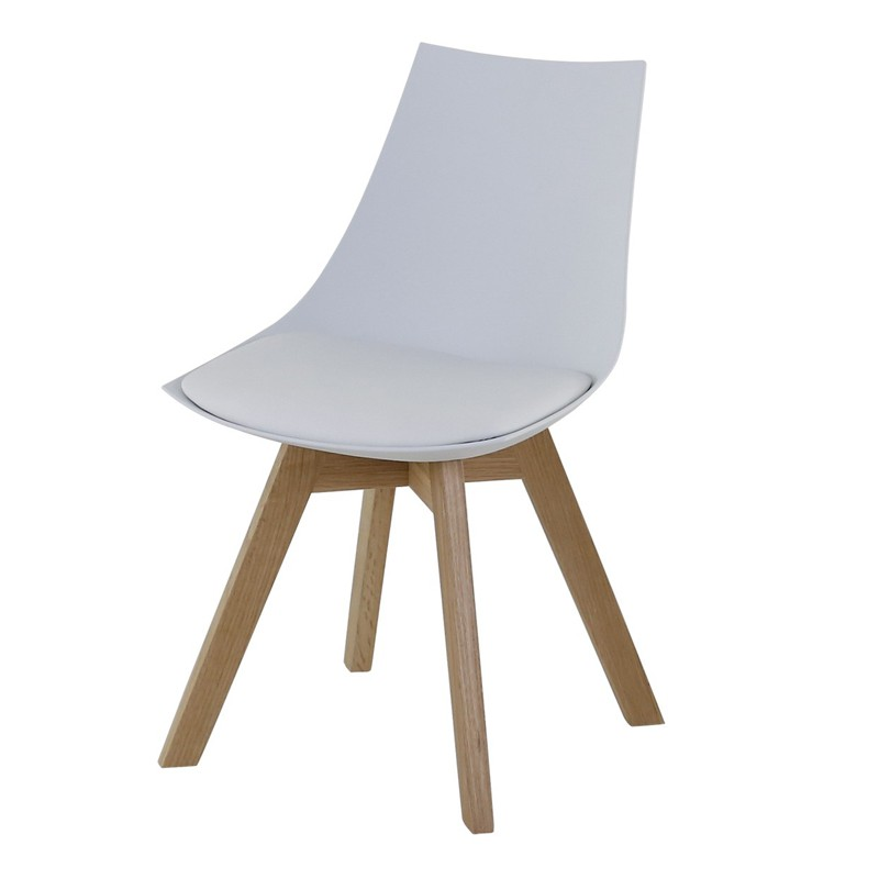 Lot de 4 chaises blanches et pi tement ch ne kosyform - Lot 4 chaises blanches ...