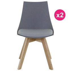 Lot of 2 gray chairs and oak KosyForm base