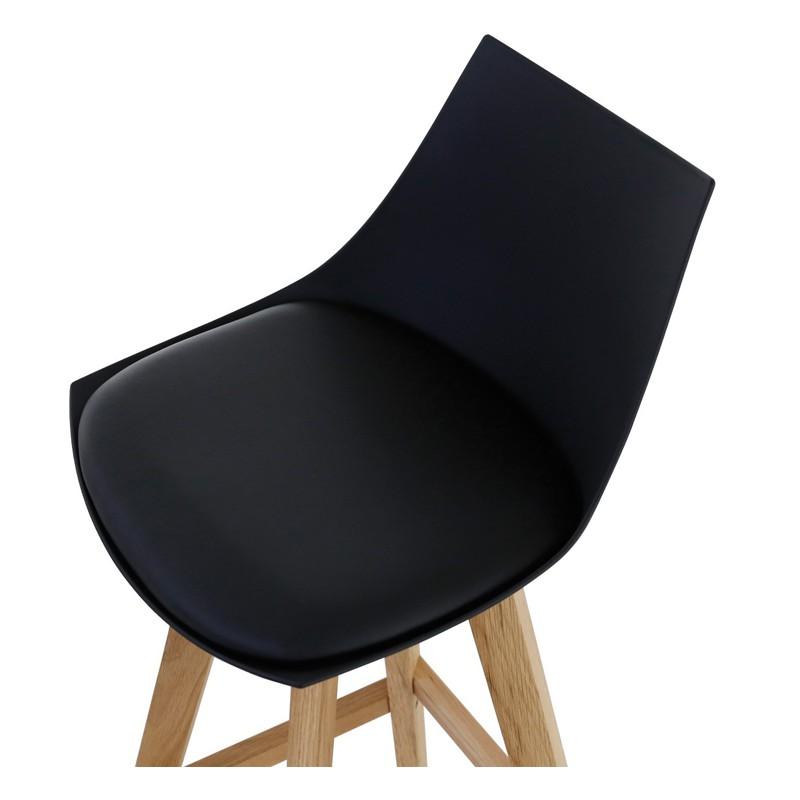 lot de 4 chaises de bar noir et pi tement ch ne kosyform. Black Bedroom Furniture Sets. Home Design Ideas