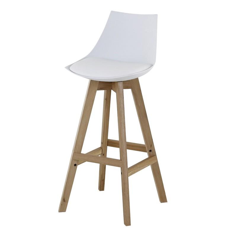 Lot de 4 chaises de bar blanches et pi tement ch ne kosyform - Lot 4 chaises blanches ...