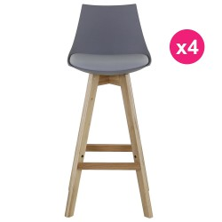 مجموعة رمادي 4 بار الكراسي والبلوط كوسيفورم قاعدة
