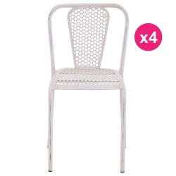 Set of 4 white KosyForm metal chairs