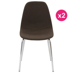Lot de 2 Chaises Marron Piétement Chrome KosyForm
