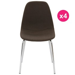 Lot de 4 Chaises Marron Piétement Chrome KosyForm