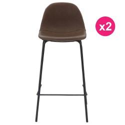 Lot de 2 Chaises de Bar Marron KosyForm