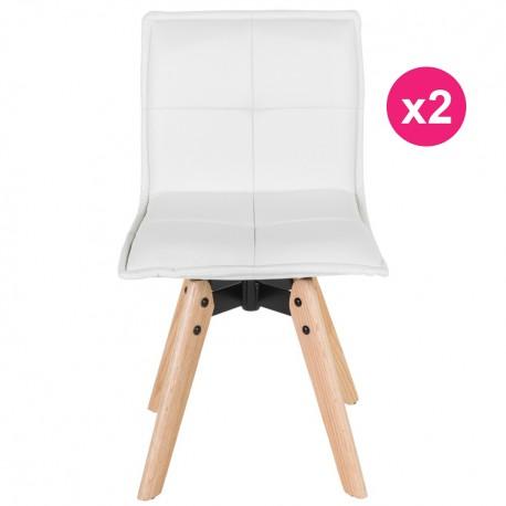 Set di 2 sedie in pelle bianca KosyForm