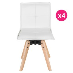 Lot de 4 Chaises Similicuir Blanc KosyForm