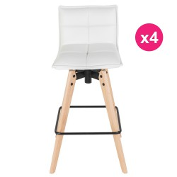Lot de 4 Chaises de Bar Similicuir Blanc KosyForm