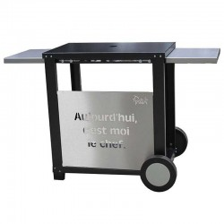 Serving Plancha Epoxy black steel with 2 shelves