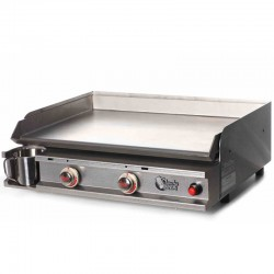 Plancha Tonio 2 luces caja y placa de acero inoxidable de gas
