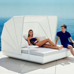 Transat Vela Daybed Vondom Inclinable Blanc Mat avec Parasol