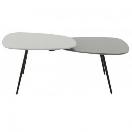 Table Basse Rectangulaire Laqué Gris 2 Plateaux Scany KosyForm