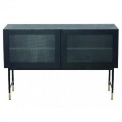 Bajo en chapa de roble negra con puertas de cristal y pies negro Tozzini KosyForm Metal muebles