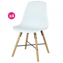 Conjunto de 4 cadeiras Polipropileno branco Carvalho Vigi KosyForm base