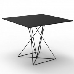 Table FAZ Vondom black stainless steel base lacquered 70x70xH72