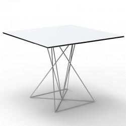 Mesa FAZ VONDOM base blanca acero inoxidable lacado 70x70xH72