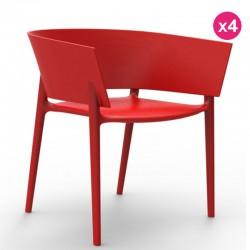 مجموعه من 4 كراسي فوندوم تصميم افريقيا الأحمر