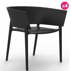 Conjunto de 4 sillas VONDOM diseño África negro