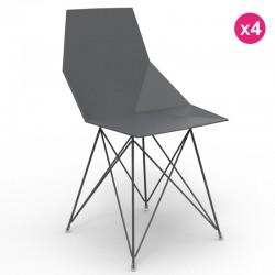Set di 4 sedie FAZ VONDOM gambe in acciaio inox nero senza braccioli