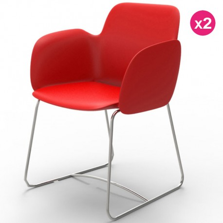 Set of 2 chairs Vondom Pezzettina red matte and metal