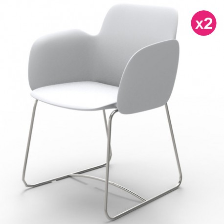Set of 2 chairs Vondom Pezzettina white Matt and metal