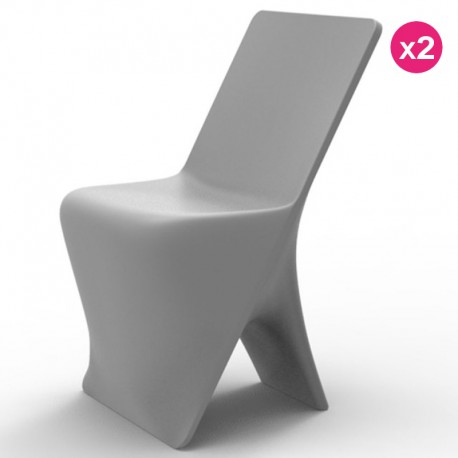 Set of 2 chairs Vondom design Sloo Grisr
