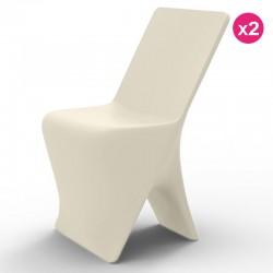 Conjunto de 2 sillas VONDOM diseño Sloo ecru