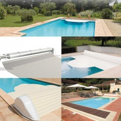 Automatic blade pool flap with 10x5 Igloo 2 White above-ground reel