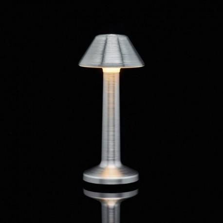 Luminaire de Table Imagilights Led Sans Fil Collection Moments Argenté Cône