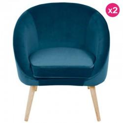 Un sacco di 2 velluto blu e legno sair KosyForm sedie