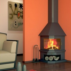 FocGrup Angle Chimney in Black Steel 11kW Open Fire 85